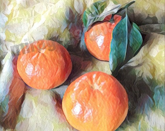 Mandarin Oranges on a Damask cloth Note Card