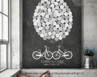Unique Wedding Guest Book, Rustic Guest Book Alternative, Wedding Guestbook Print, Faux Chalkboard Wedding Signs, Wedding Gift Bicycles Sign