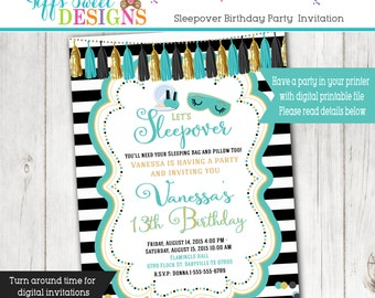 Slumber Sleepover Party - Birthday Party Invitation - Printable