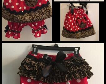 Cute Minnie Mouse Pillowcase Dress, Ruffle Bottom Pantaloons and Matching Bow