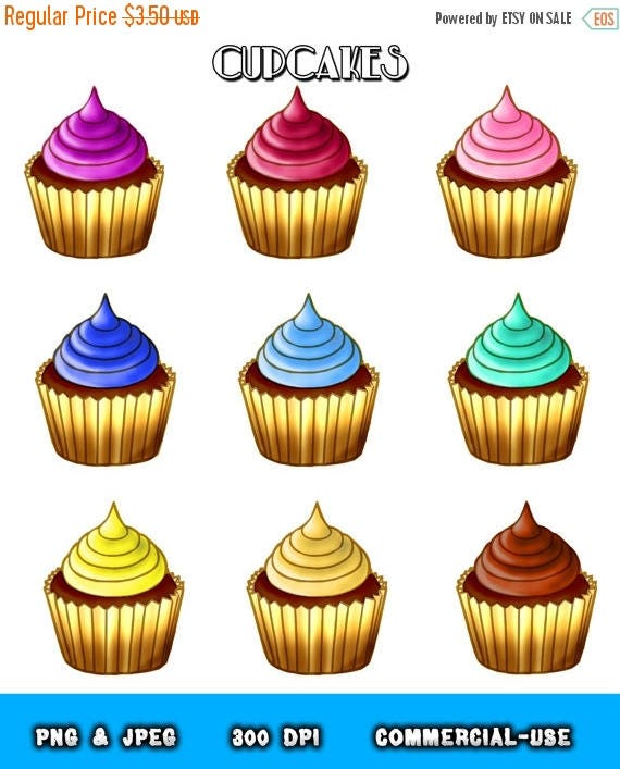 50% OFF Chocolate Cupcake clipart food clipart cupcakes