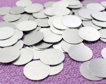"""25 Pk - 1"""" Aluminum Stamping Blanks - 20 Gauge (.031"""") - 1 Inch Diameter - Raw Brushed Finish - No Hole - Round Circle Disc Tags Charm Blank"""