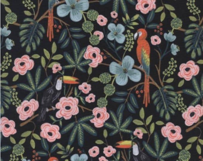 Paradise Garden in Midnight-Menagerie -Anna Rifle Bond for Cotton + Steel