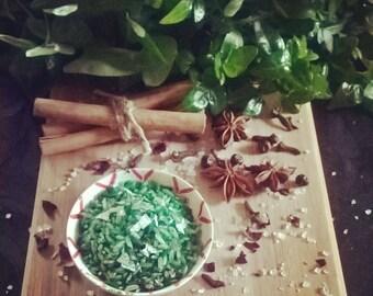 Green Shredded Money Rice, hoodoo, Wedding Throwing Rice Favor, herbs, herbal curio, pagan wedding, handfasting, hand fasting.