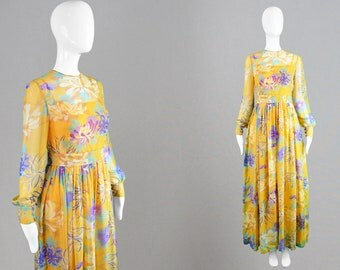 Vintage 60s Leonor Barral Couture Yellow Silk Chiffon Dress Sheer Maxi Dress French Designer Bishop Sleeve 1960s Summer Gown Wedding Guest