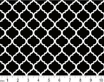 Mini Quatrefoil Black Moroccan Lattice Cotton Print, By the Yard  #397