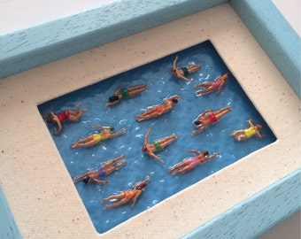 Swimming Pool,  miniature swimmers, art work with a real wood frame