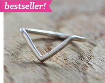 argentium sterling silver chevron ring