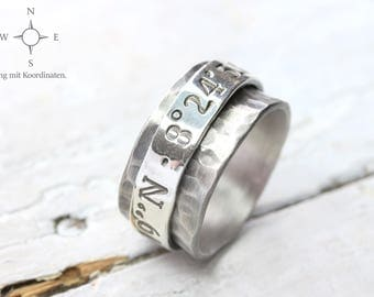 Silver Rotating Ring, Spinning Ring personalized with coordinates 925 silver, spinner ring, Coordinate system