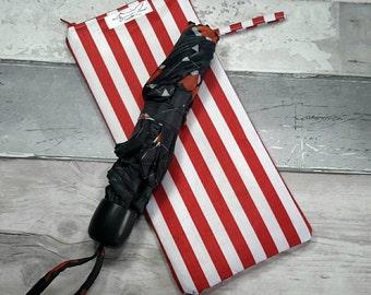 Brolly bag, wet umbrella bag, wet bag, red stripes, standard brolly