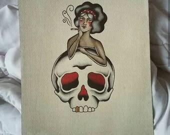 Smoking girl and skull