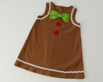 Girl's Gingerbread Man Dress. Girl's Christmas Dress Sizes 1-8