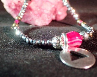 12Step Recovery Serenity Bracelet  AA Alcoholics Anonymous Charm -  Sober People - Silver / Pink