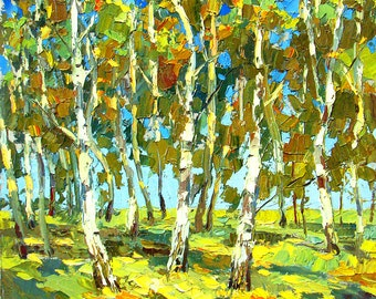 "SALE Birch forest- Original oil acr. painting on canvas by Dmitry Spiros. Size: 32"" x 32"", (80cm x 80cm)"