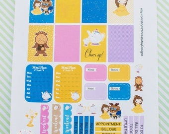 Classic Planner| Big Happy Planner| ECLP| Beauty and her Prince Charming Weekly Layout 36 Planner Stickers Set