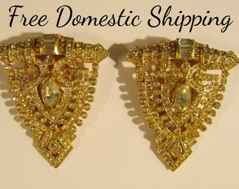 Coro Fur Clips, Rhinestone Dress Clips, Faux Diamond & Gold Fur Clips, Art Deco Fur or Dress Clips, Signed Coro Set, Mother Day Gift for Her