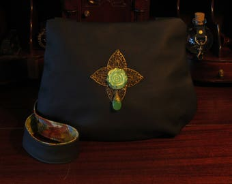 Gothic Floral Bohemian Black Leather Shoulder Bag -- The Wild Victorian