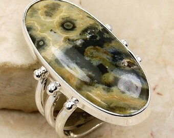 Green Rainforest Jasper Ring & .925 Sterling Silver Ring Size 6.75 AE839 by The Silver Plaza