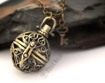 Ball Locket Magic Box Locket  Key Necklace Round Locket Sphere Locket Necklace Long Bronze Necklace Gift Necklace Locket Memory Locket