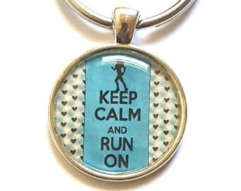 Keep Calm And Run Keychain