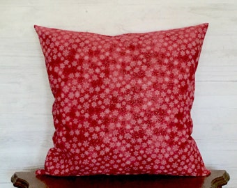Red Christmas Pillow - Red Snowflake Pillow - Red Holiday Pillow - Red Pillow - Red Holiday Pillow - Seasonal Pillow - 18 x 18 pillow cover