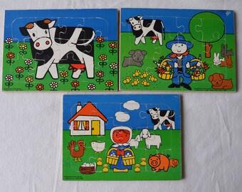 3 Vintage Dick Bruna Puzzles - Farm, cow, farmgirl / Mencis Spiele / Wooden Jigsaw Puzzle / Decoration
