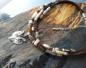 Wolf head multi strand Leather tribal southwest choker necklace (reserved)