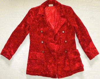 1960s 70s RED Crushed Velvet  Blazer / Jacket / Mod / GLAM / Chic / Vintage