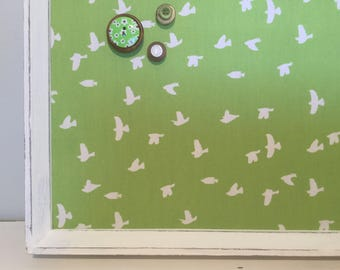 Lovely eco friendly magnetic board covered with greenery pantone 2017 color bird silhouette fabric organization office memo bedroom decor