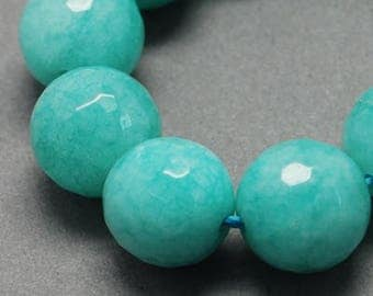 Faceted Turquoise Color Jade Rounds
