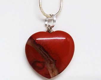 Red, Jasper, Heart, Pendant, Gemstone, Crystal, Quartz, Necklace