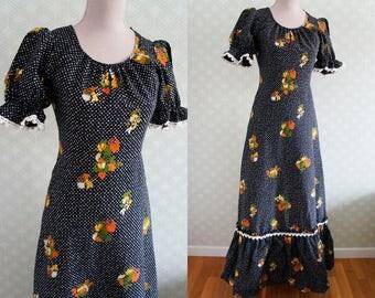 Peasant Dress. Seventies German long dress. Vintage maxi dress.  Black floral maxi dress.