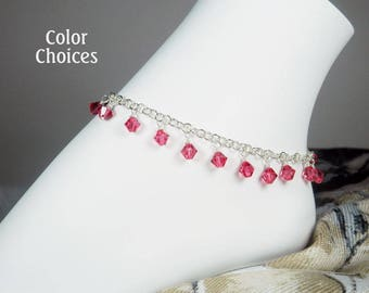"Crystal Dangles Ankle Bracelet - Silver Chain Anklet - Crystal Bead Bracelet - Swarovski - Girls - Plus Size - 7"", 8"", 9"", 10"", 11"", 12"", 13"