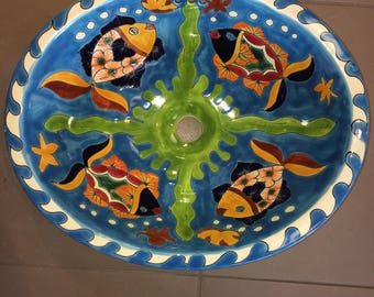 Adorable Talavera Fish Sink - Free Shipping!!