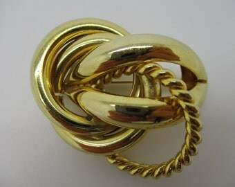 Gold Tone Abstract Looking Brooch