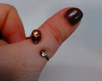 Vintage Tiny Crystal and Tiny Skull Adjustable ring