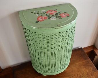 Vintage laundry hamper etsy for Green bathroom bin
