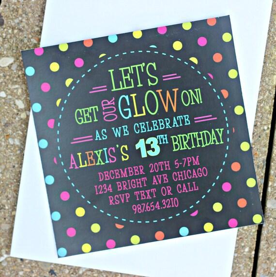 printed invitations glow in the dark party invitation neon