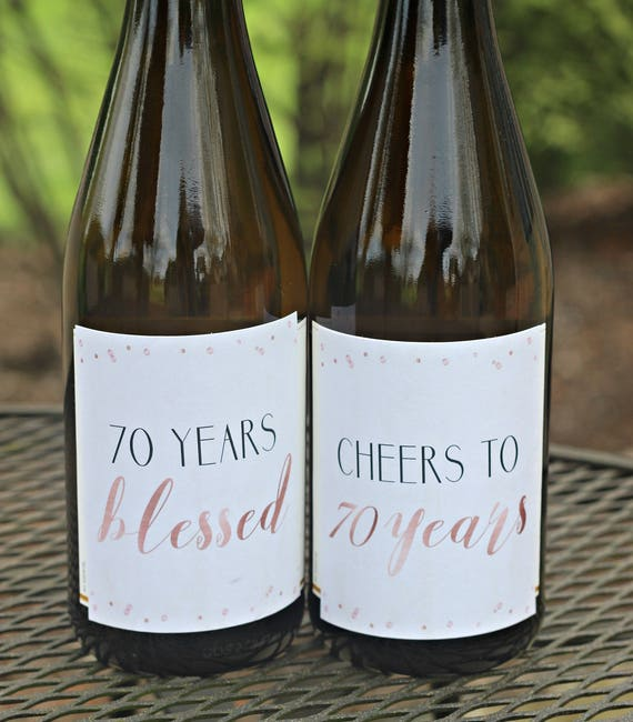 70th BIRTHDAY DECORATIONS Wine Labels Cheers To 70 Years Rose