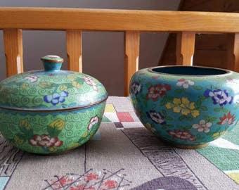 Pair of Vintage Cloisonne Bowls 1920s C804J