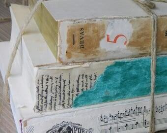 3 Decorative Books, Vintage Book Set, Old Book Decor