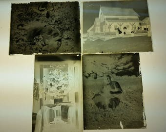 Collection of 4 dry plate glass negatives circa 1880-1920