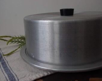 Aluminum vintage cake plate
