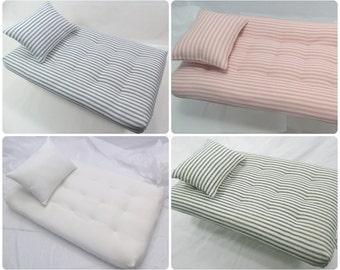 Doll Bed Cradle Bunkbed Replacement Mattress Pillow Set - Custom Sizes Large - White or Ticking - Pink Blue Green - Vintage Antique Style