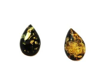 Green, Honey, Lemon Baltic Amber Teardrop Pieces, jewellery making, Cabochon semi precious gems Flat back, real Amber Bead jewelry supplies