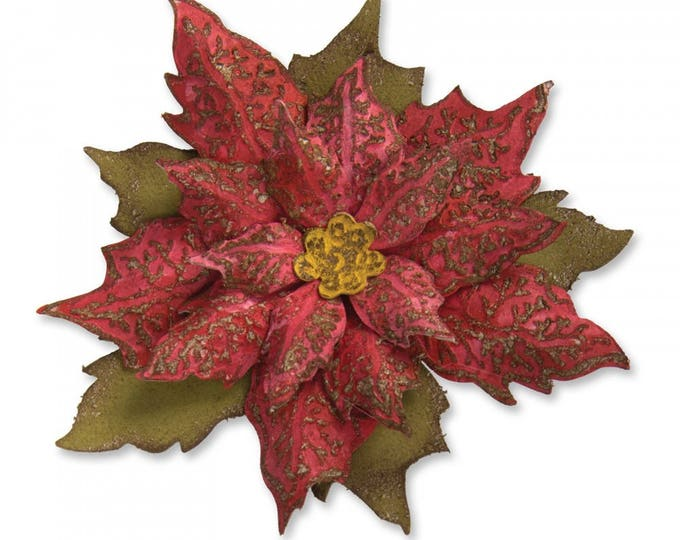 New! Sizzix Tim Holtz Bigz Die w/Texture Fades Embossing Folder - Layered Tattered Poinsettia 662170