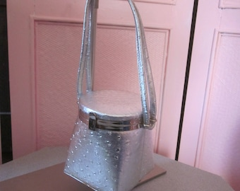 "1980s Ostrich Embossed Silver Metallic Vinyl Box Bag by ""J & S Original"""