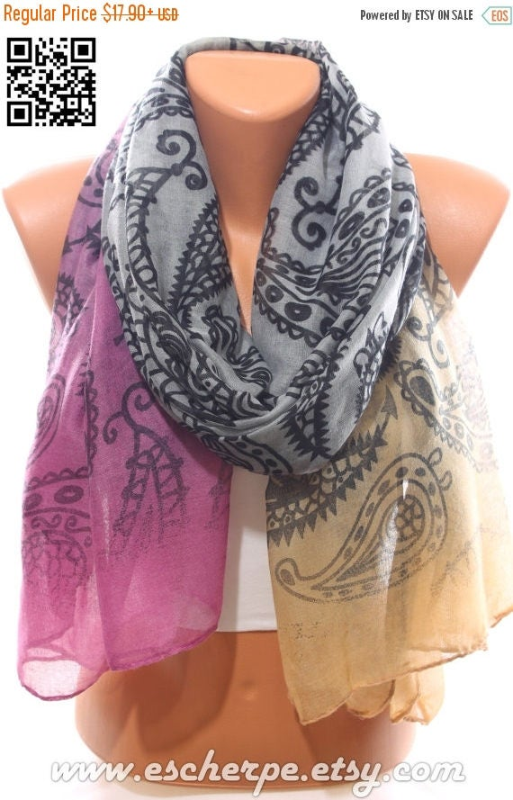 Paisley Print Grey Purple Camel Scarf Infinity Scarf Winter Fashion Women's Fashion Accessories Holidays Christmas Gift Ideas For Her