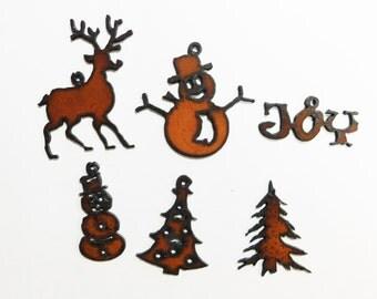 Christmas charms  (3)  Rusted Metal Charms choose any three (3)