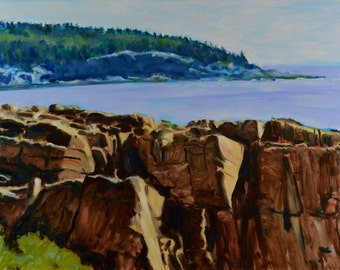 Original Oil Painting, Maine Seascape, Seacoast, Acadia National Park, Ocean Path View, by Robert Lafond